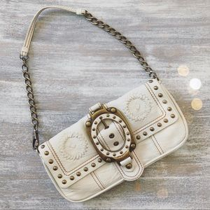 Betsey Johnson Leather Studded Chained Clutch